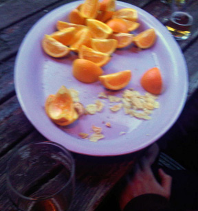 Post-match oranges and beer