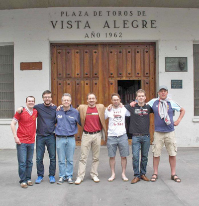 The touring party outside the Plaza de Toros in Bilbao