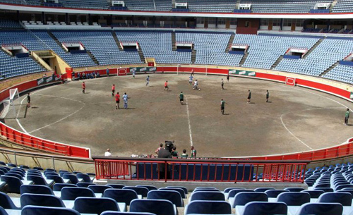 Playing three-sided football on the Plaza de Toros, Bilbao