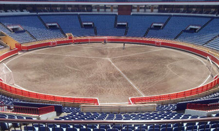 The Plaza de Toros in Bilbao marked out for a three-sided football match